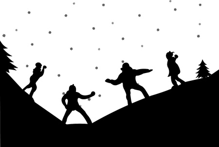 couple fight: Family in a snowball fight in winter in mountain silhouette, one in the series of similar images