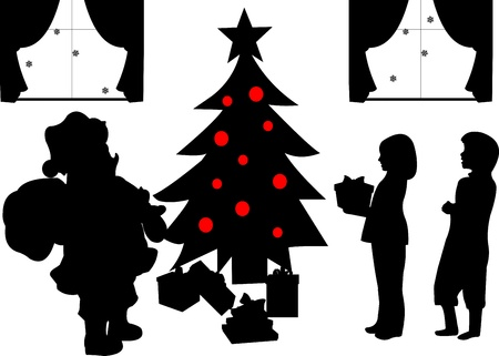 Santa Clause with gifts and kids opening presents under the Christmas tree in living room in winter silhouette Vector