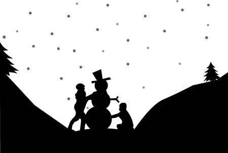 Silhouette of a two kids make a snowman in winter in mountain 向量圖像