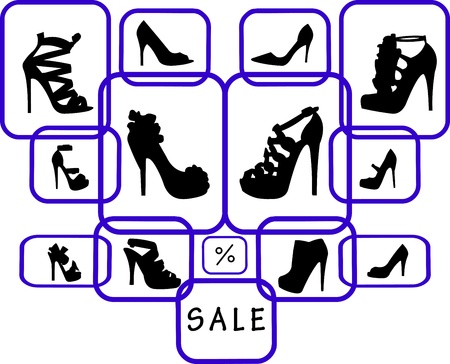 high heeled: Women s shoes in differnet shape at the shop on sale silhouette Illustration