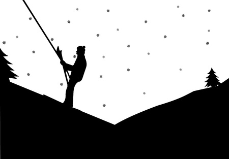 Man on ski lift in winter in mountain silhouette Vector
