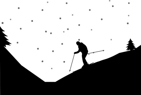 Silhouette of man skiers in winter in mountain, one in the series of similar images  Vector