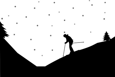 Silhouette of woman skiers in winter in mountain, one in the series of similar images  Vector
