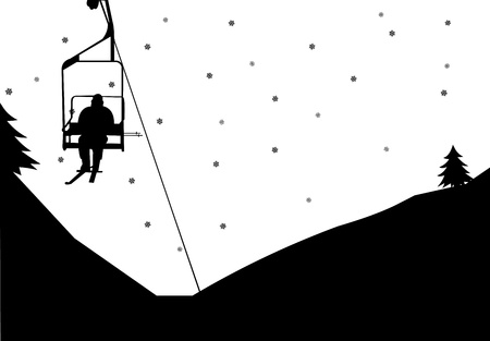 Man on ski lift in winter in mountain silhouette, one in the series of similar images