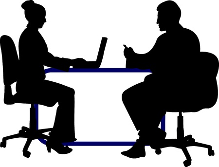 two men talking: Business background with business people, of the man and woman at their working place on layered silhouette