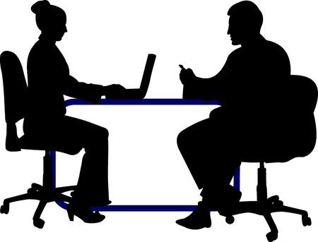 conversations: Sfondo di affari con uomini d'affari, l'uomo e la donna al loro posto di lavoro in silhouette a strati Vettoriali