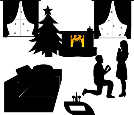 Romantic proposal in living room in Christmas time in winter of a man proposing to a woman while standing on one knee silhouettes, one in the series of similar images  Vector