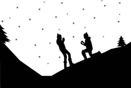 Romantic proposal on mountain in winter of a man proposing to a woman while standing on one knee silhouettes, one in the series of similar images  Vector