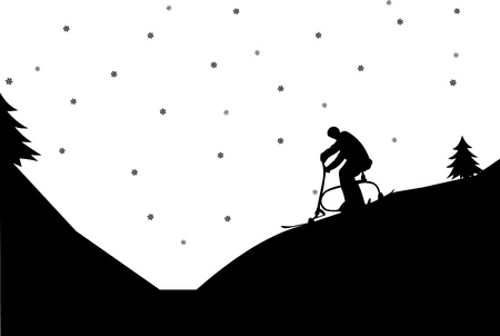 Silhouette of man on ski bike in winter in mountain, one in the series of similar images  Vector