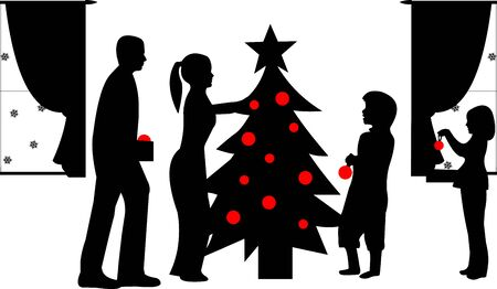 Family decorating Christmas tree in winter silhouette, one in the series of similar images photo