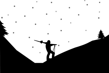 Silhouette of man skiers with skis in winter in mountain, one in the series of similar images  Vector
