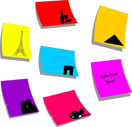 Paris icons or symbols, sticky colorful memo note papers, one in the series of similar images silhouette  Vector