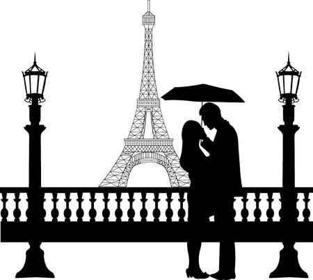 heterosexual: Pareja rom�ntica en frente de la torre Eiffel en Par�s, bajo el paraguas silueta, uno en la serie de im�genes similares