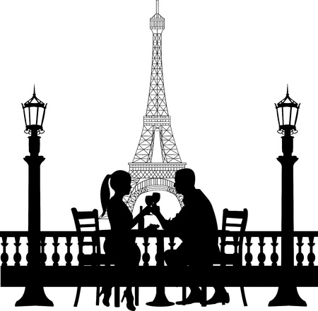 Romantic couple in front of Eiffel tower in Paris have a dinner silhouette, one in the series of similar images