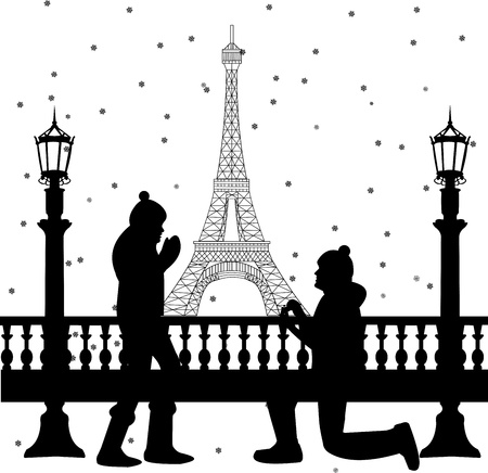 heterosexual: Romantic couple in front of Eiffel tower in Paris a man proposing to a woman while standing on one knee silhouette, one in the series of similar images