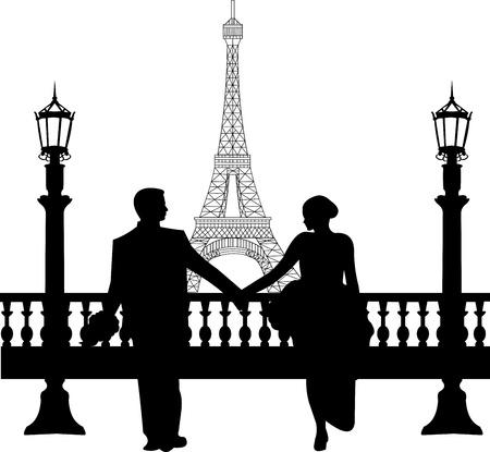 heterosexual: Pareja de boda en frente de la torre Eiffel en Par�s silueta, uno en la serie de im�genes similares