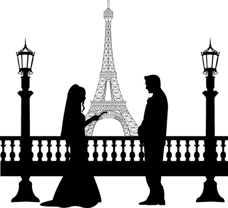 Wedding couple in front of Eiffel tower in Paris silhouette, one in the series of similar images Stock Vector - 16760079