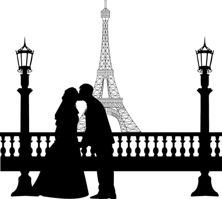 seine: Wedding couple in front of Eiffel tower in Paris silhouette, one in the series of similar images
