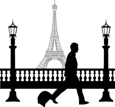 viaje de negocios: Un hombre de negocios viajando en viaje de negocios en Par�s y pasa por delante de la torre Eiffel silueta