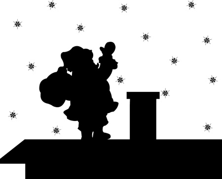 Santa Claus descends the chimney house, he keeps a bag of gifts silhouette Vector