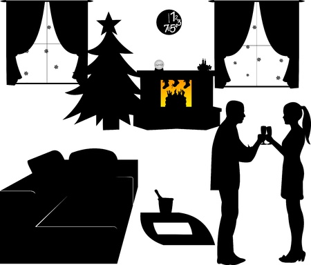 New Year s Eve in living room at home, a couple toasting with champagne at midnight silhouette Vector