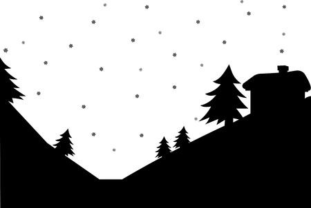 january sunrise: Paisaje de invierno, la casa de la silueta de la monta�a