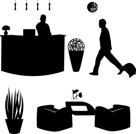 recepcionista: Visitantes y la recepcionista en la silueta del hotel
