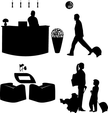 recepcion: Familia de los viajes y el recepcionista del hotel, silueta, uno en la serie de im�genes similares