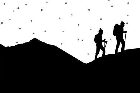 couple hiking: Mountain climbing in winter, hiking couple with rucksacks silhouette, one in the series of similar images