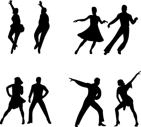 poise: Set of silhouettes of a dancing couple, one in the series of similar images