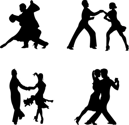Set of silhouettes of a dancing couple, one in the series of similar images