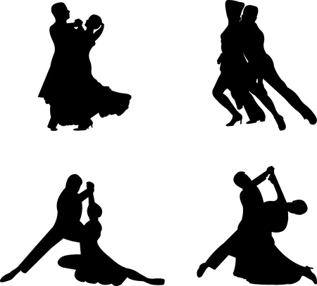 dancer male: Set of silhouettes of a dancing couple, one in the series of similar images