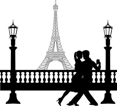 poise: Rom�ntica pareja de baile delante de la torre Eiffel en Par�s silueta, uno en la serie de im�genes similares