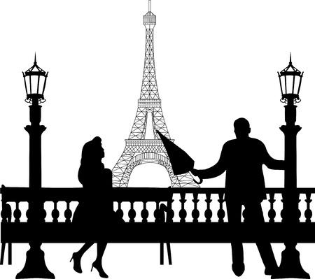 siluetas de enamorados: Un hombre joven con un paraguas, de pie cerca de una lámpara de la calle y conquistar a la chica en el banco delante de la torre Eiffel en París silueta, uno en la serie de imágenes similares