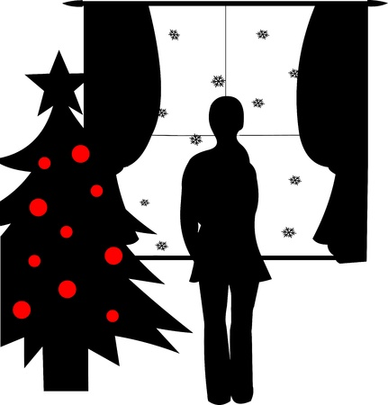 miss:  Girl watching through a window and waiting for someone at Christmas time silhouette