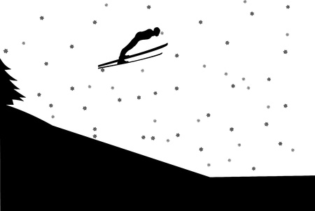 Ski jumping silhouette in winter in mountain Vector