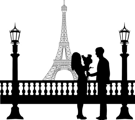 woo: Young man giving his girlfriend a bouquet of flowers for Valentine s Day in front of Eiffel tower in Paris silhouette, one in the series of similar images