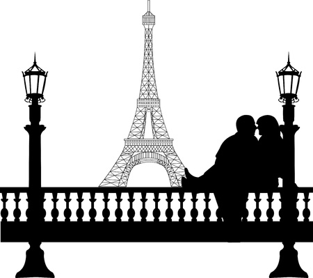 Young boyfriend and girlfriend are kissing on Valentine s Day in front of Eiffel tower in Paris silhouette, one in the series of similar images  Stock Vector - 17205765