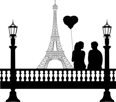 couples outdoors: Couple in love on Valentine s Day in front of Eiffel tower in Paris silhouette, one in the series of similar images Illustration