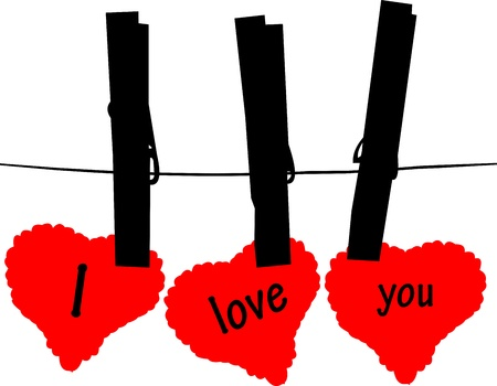 14 february: Valentine s day cards hanging from on a rope with clothespins, one in the series of similar images silhouettes