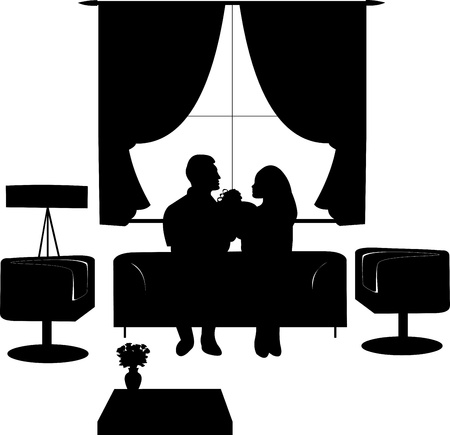 woo: Couple in love on Valentine s day in living room where a man gives a girl a gift silhouette Illustration