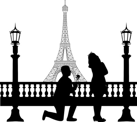 outdoor wedding: A young man with rose, kneel and woo the girl in Paris in front of Eiffel tower on Valentine s day silhouette, one in the series of similar images  Illustration