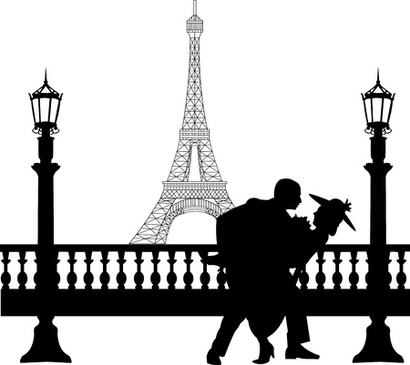 Wedding couple in front of Eiffel tower in Paris on Valentine s day silhouette, one in the series of similar images Stock Vector - 17222555