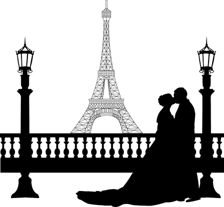 Wedding couple in front of Eiffel tower in Paris on Valentine s day silhouette, one in the series of similar images  Vector