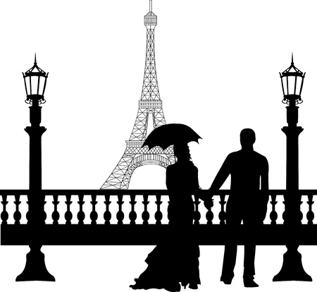 seine: Wedding couple in front of Eiffel tower in Paris on Valentine s day silhouette, one in the series of similar images