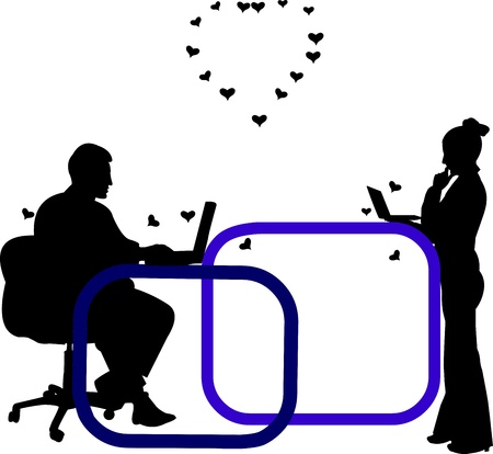 woo: Love on the job and in the office, exchanging love messages on Valentine s Day silhouette