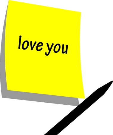 Love You - original valentine card - handwritten sticky memo paper with pencil silhouette Vector