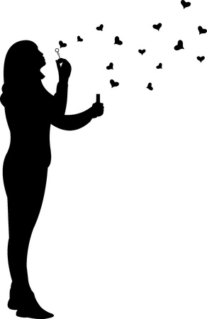 love blow: Young girl blowing soap bubbles in heart shaped for Valentine s Day silhouette Illustration