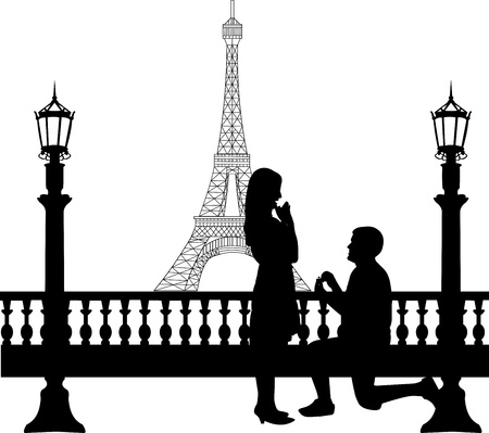 Romantic proposal in Paris in front of Eiffel tower on Valentines day  Ilustrace