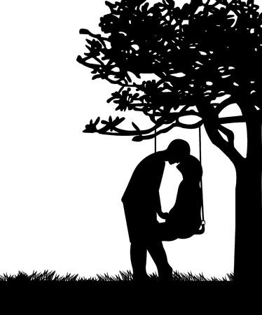 siluetas de enamorados: Pareja en el amor en el Día de San Valentín s en un columpio en el parque o jardín silueta